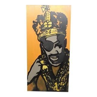 Funky Art Portrait In Orange and Black of Rapper Suge Knight For Sale