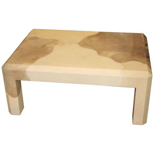 Karl Springer Tri Color Goatskin Parchment Coffee Table For Sale - Image 9 of 9