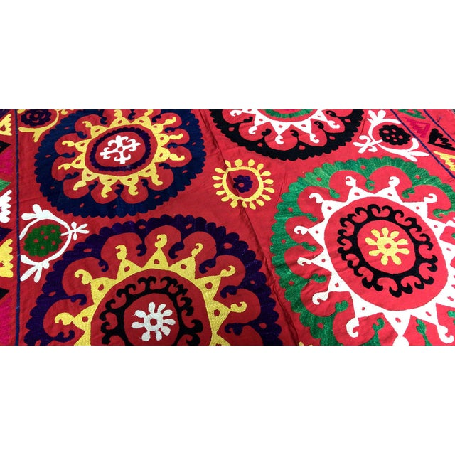 Handmade suzani bedspread - table cover - suzani blanket. * size is 6.7 FEET x 4.8 FEET ( 205 CM x 148 CM ) * multi color...