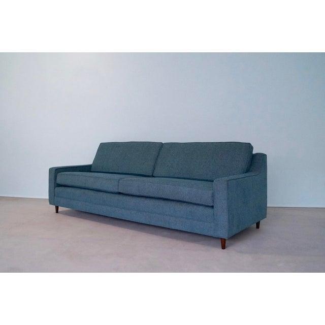 Original Mid-Century Modern Reupholstered Tweed Sofa - Image 4 of 11