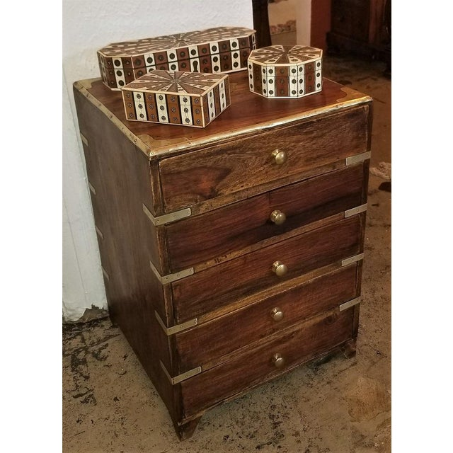 Metal Campaign Style Mini Chest For Sale - Image 7 of 13