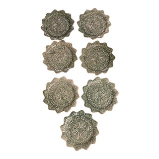 Majolica Bordallo Pinheiro Celery Plates - Set of 7 For Sale