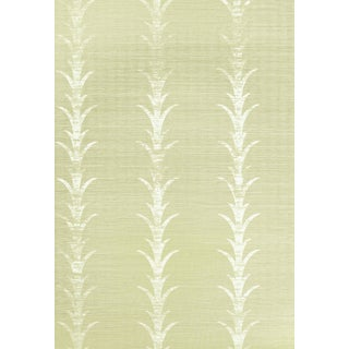 Schumacher X Celerie Kemble Acanthus Stripe Wallpaper in Fog & Chalk For Sale