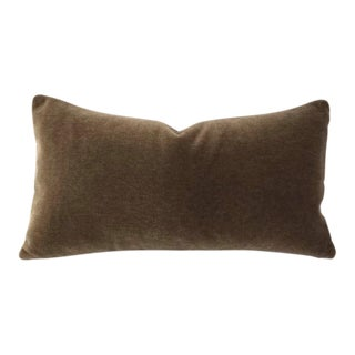 "Dark Wood Brown Mohair Velvet Lumbar Pillow Cover - 10.5"" X 20"" For Sale"