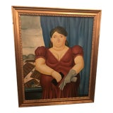 Image of 1980s Female Portrait Oil on Canvas Painting For Sale