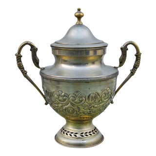 Hand-Engraved Moroccan Brass Urn For Sale