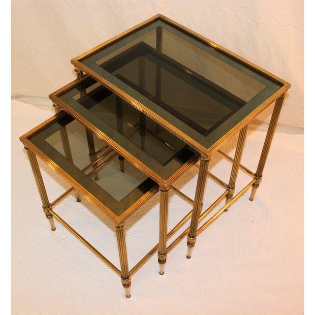 1950's Modern Italian Brass Nesting Tables - Pair For Sale - Image 5 of 10
