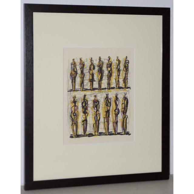 "1958 Henry Moore ""Thirteen Standing Figures"" Original Lithograph For Sale - Image 9 of 9"