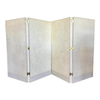 Barbara Barry for Henredon Modern Curtin Call Low Folding Ivory Shagreen Screen/Room Divider For Sale