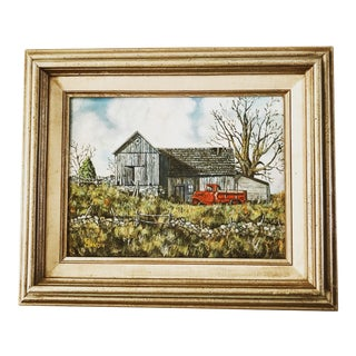 Vintage Rustic Red Truck & Barn Painting For Sale