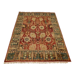 Vintage Indian Agra Rug- 8′ × 10′ For Sale