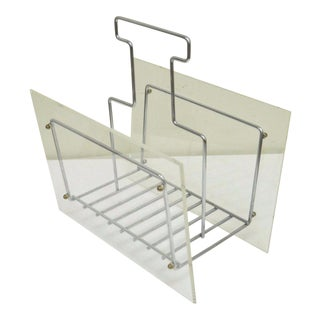 Vintage Mid Century Modern Lucite Chrome Metal Magazine Holder Stand Rack Retro For Sale