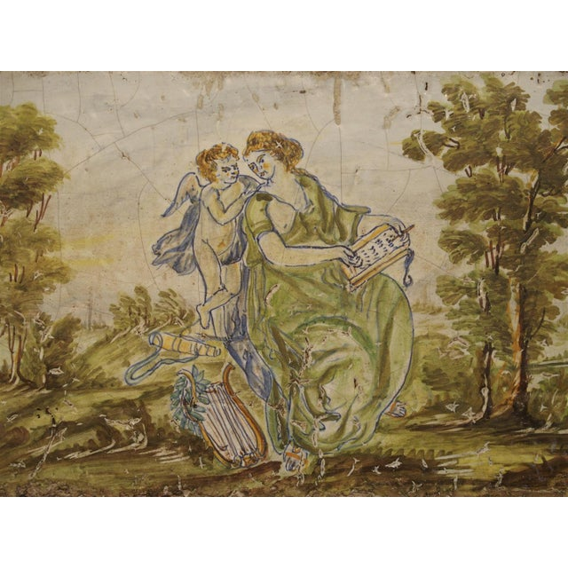 17th Century Antique Painted Tile from Italy, 17th Century For Sale - Image 5 of 6