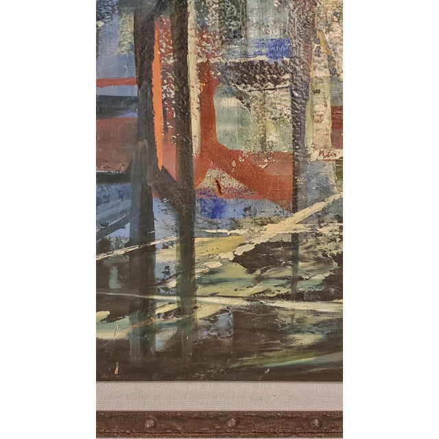 """Bridges"" Oil on Masonite Painting For Sale - Image 4 of 6"