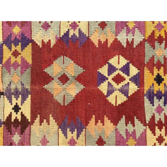 Red Hand Made Vintage Turkish Kilim Rug For Sale - Image 8 of 10