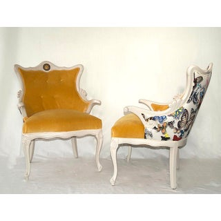 1960s Vintage Christian Lacroix Butterfly Fabric Italian Regency Revival Chairs- A Pair Preview