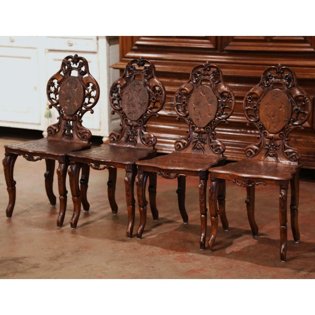 Set of Four 19th Century French Black Forest Carved Walnut Chairs For Sale - Image 13 of 13