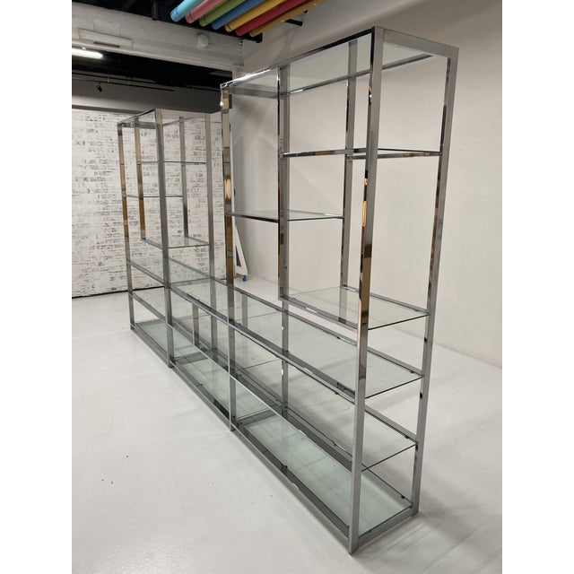 Contemporary 1970s Milo Baughman Style Chrome Etagere For Sale - Image 3 of 13
