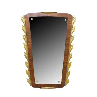 1920's French Art Deco Parcel Gilt Carved Wood Wall Mirror For Sale