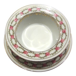 Antique Pink Rose Garland Ramekin Set For Sale