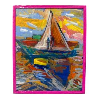"Juan Guzman ""Newport Boats"" Expressionist Painting For Sale"
