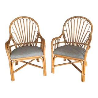 1960s Vintage Rattan Brown Jordan Rattan Chairs- A Pair For Sale