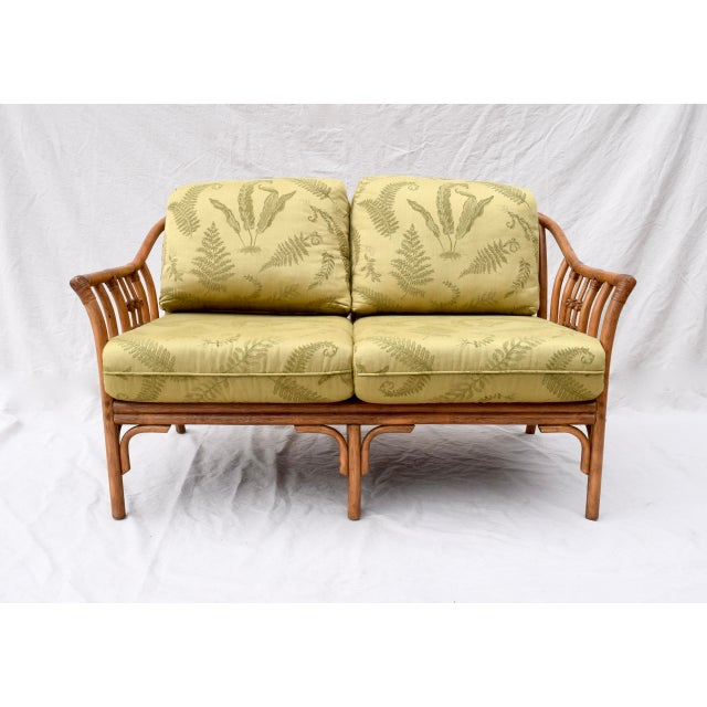 Chinese Chippendale bent bamboo rattan settee & ottoman with leather joinery; upholstered in green fern Damask. Lovely...