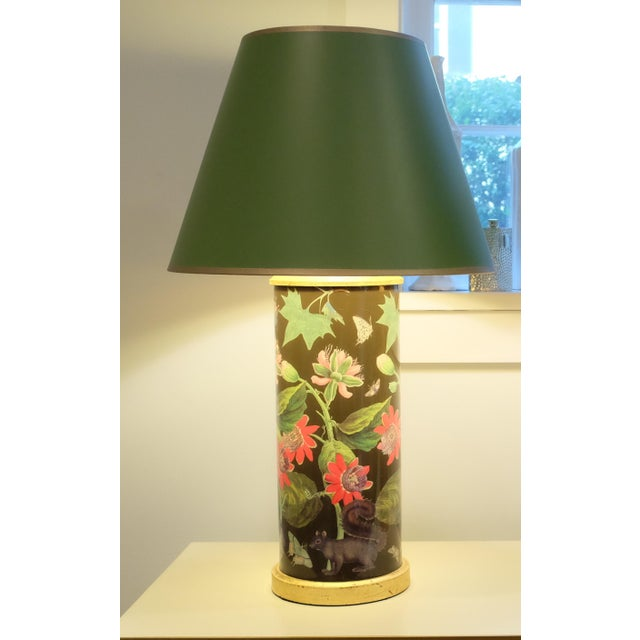 Beautiful decoupage flower lamp with a gold trimmed green painted shade and antique gold base. Interior of shade is also...