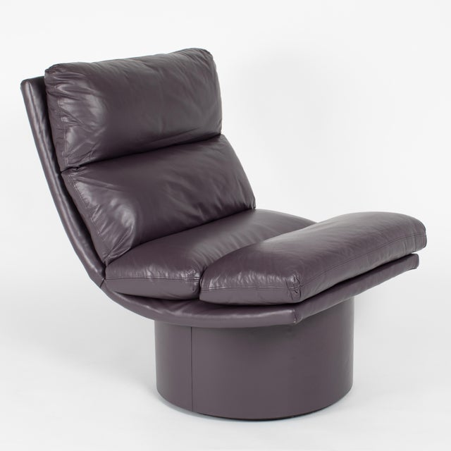 Eggplant Leather Scoop Chairs on Swivel Bases, Circa 1980s For Sale - Image 9 of 13