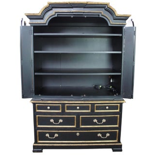 1980s Vintage Century Furniture Black & Gold 2 Pieces Armoire Preview