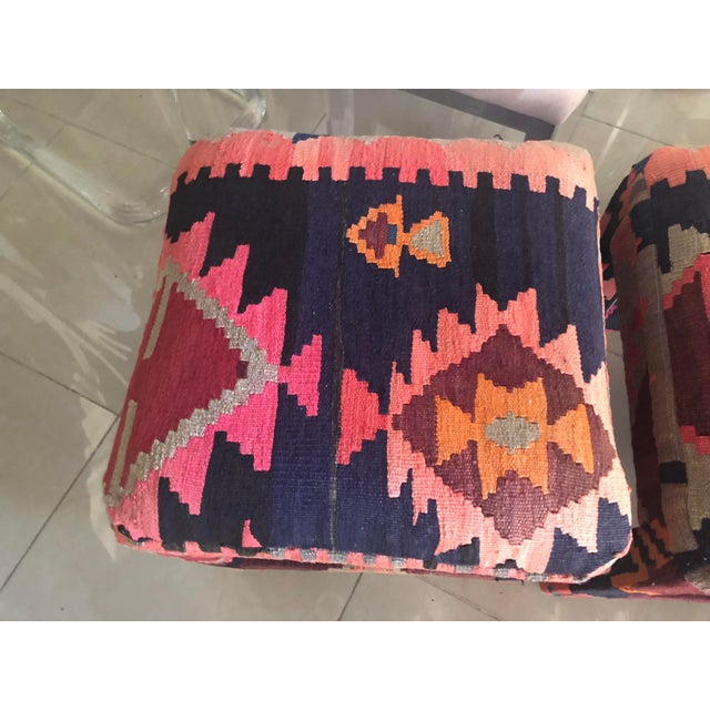 1950s Vintage Boho Kilim Rug Upholstered Benches Stools Ottomans -A Pair For Sale - Image 5 of 13