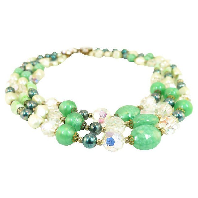 1950s Austrian Crystal & Peking Glass Necklace, 1950s For Sale - Image 5 of 8