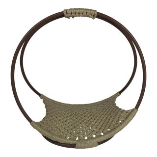 1970s Boho Chic Handwoven Tan Nylon Magazine Rack/Basket