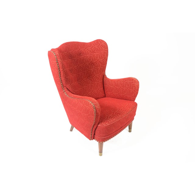 Danish Modern Crimson Frieze Club Chair - Image 3 of 11