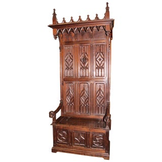 Antique Gothic Carved Oak Bench For Sale