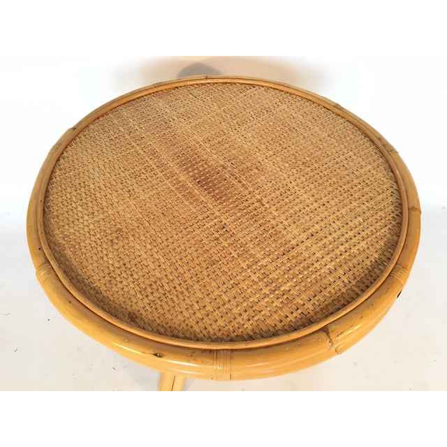 Vintage Palm Beach Cane and Rattan Round Side Table - Image 3 of 7