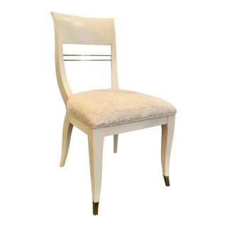 Caracole Couture Modern White Cut Velvet Sweet Seat Side Chair/Desk Chair For Sale