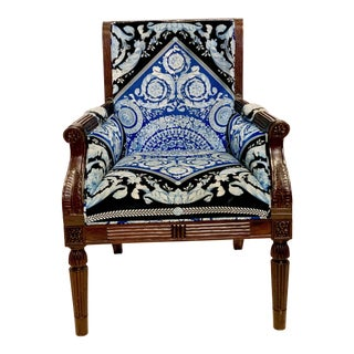 Versace Mahogany Arm Chair For Sale