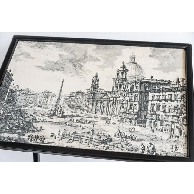 Contemporary Folding Tray Tables Set With Scenes From Rome, Italy in Black & White, Set -4 For Sale - Image 3 of 10