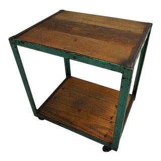 Vintage Turquoise Metal Industrial Cart