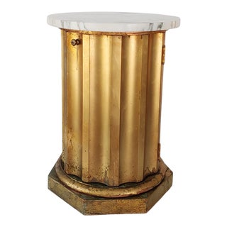 1960s Neoclassical Style Gold Leaf Marble Column Side Table For Sale