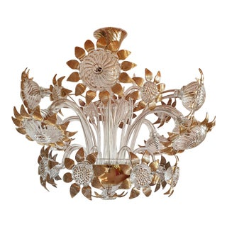 Vintage Mid Century Modern Clear & Gold Murano Chandelier, Sunflowers Decor 1970s For Sale