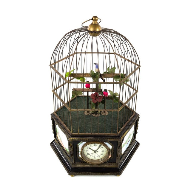 """Antique animated large bird cage music box with clock. size 11 x 20"""" A beautiful piece that will add to your décor!"""