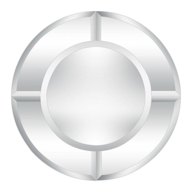 Silver Round Mirror With Beveled Edges, Art Deco Revival For Sale - Image 8 of 8