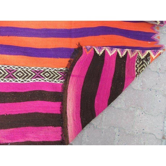 1960s 1960s Turkish Striped Kilim Runner For Sale - Image 5 of 6