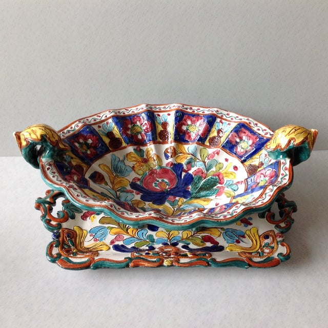Hand-Painted Majolica Pottery Bowl & Tray - Image 4 of 11