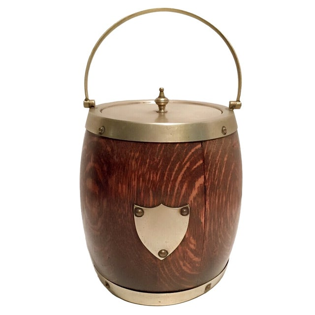 Late 19th C. English Oak Biscuit Barrel/Ice Bucket - Image 1 of 4