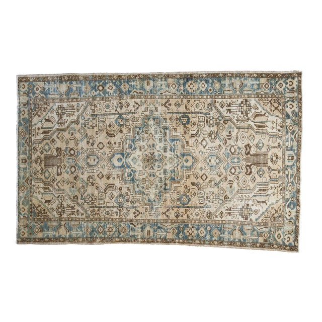 "Distressed Floral Hamadan Rug - 4'3"" x 6'10"" - Image 1 of 5"