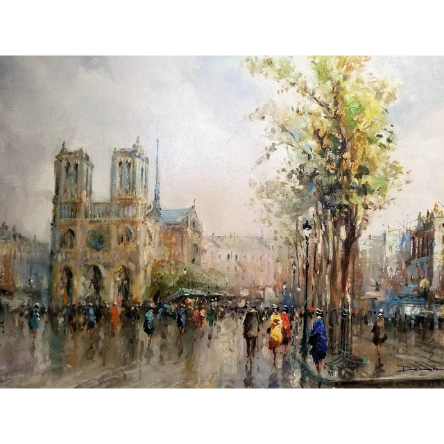 PRESENTING A GORGEOUS ORIGINAL painting from Paris of the Notre Dame Cathedral, Oil on Canvas by Demone STUNNING piece of...