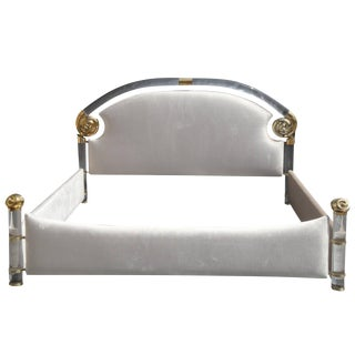 Glamorous Brass and Lucite Queen Bed by Marcello Mioni For Sale